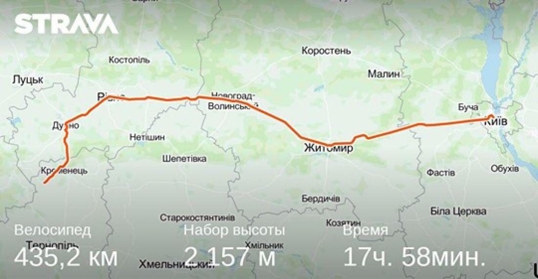 Житель Почаєва менш ніж за добу доїхав велосипедом до Києва