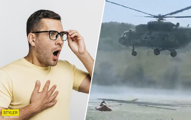 Під Харковом вертоліт влаштував небезпечні маневри на людному пляжі: відео обурило мережу